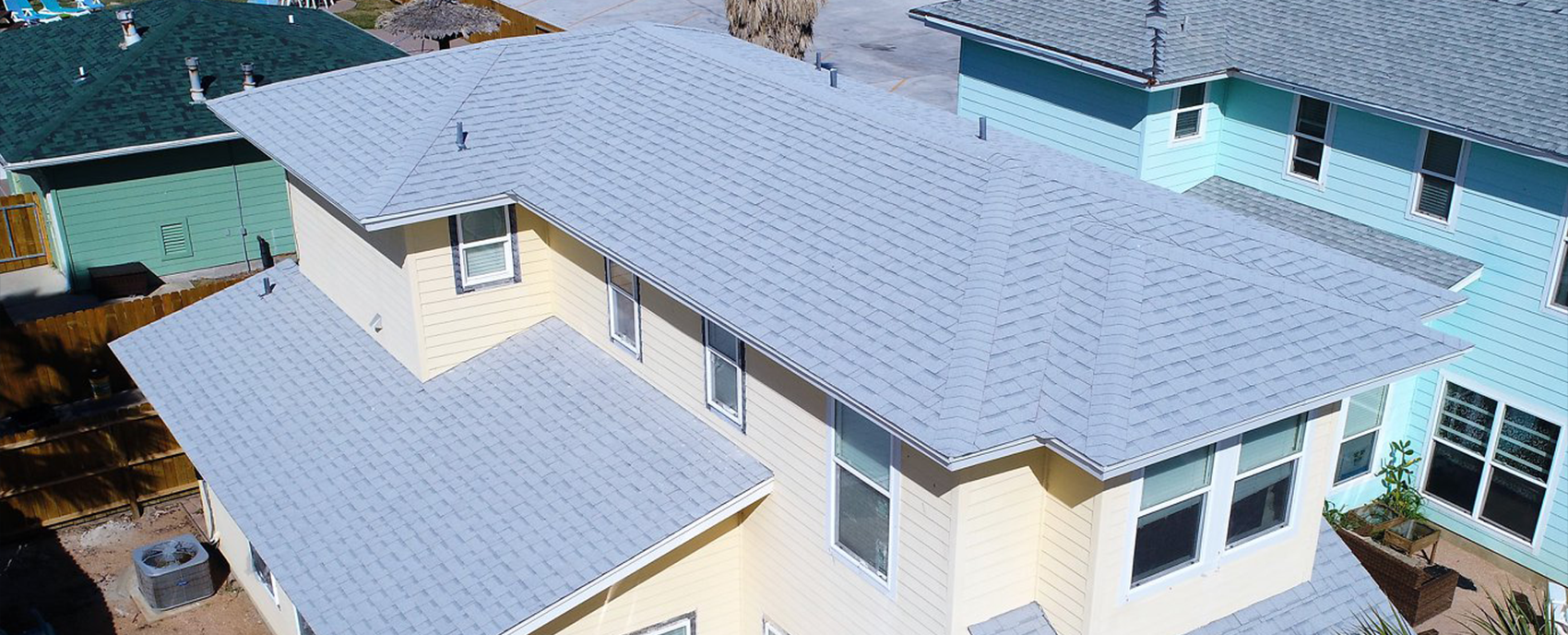 Residential roofing light blue roof
