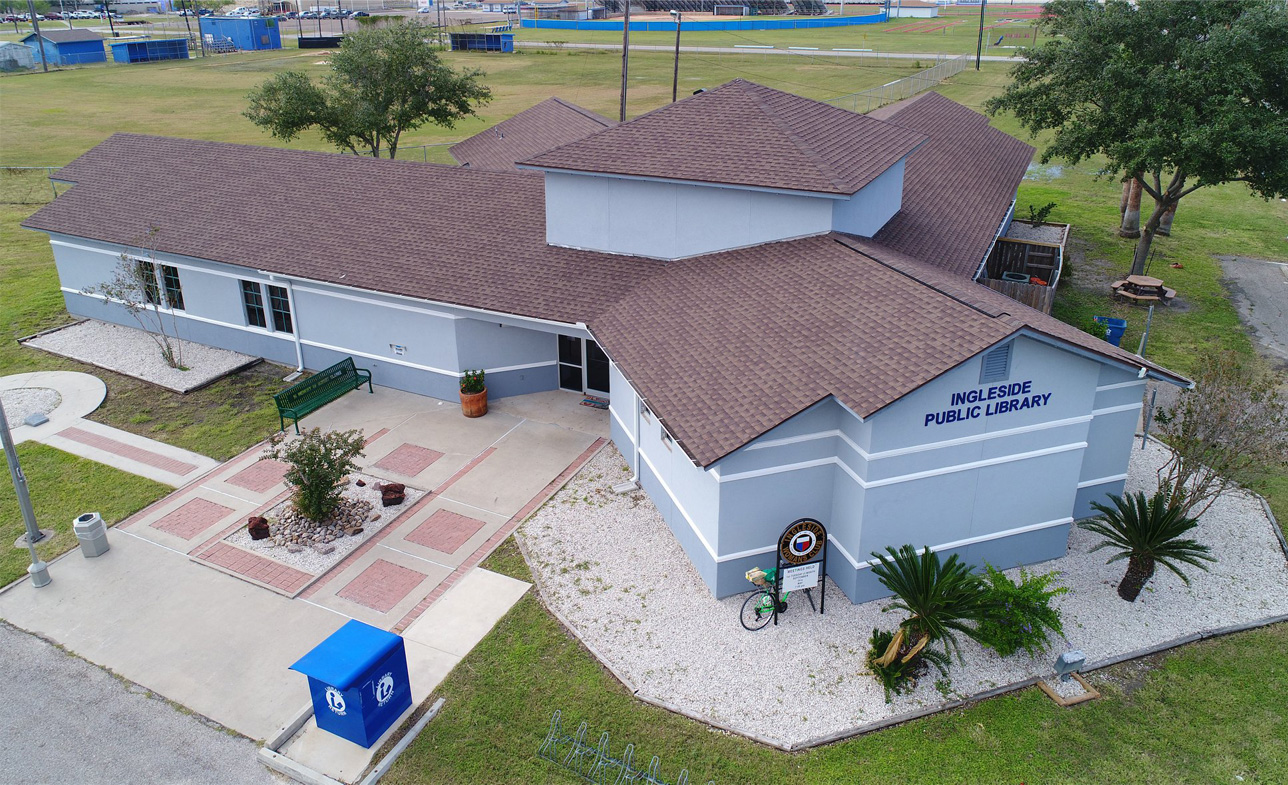 Another angle of Government Sector roofing, Ingleside Public Library professional finished roofing